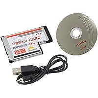 Color Plateado 54 mm Express USB 3.0 PCMCIA Adaptador de Tarjeta de 2 Puertos Tasa de Transferencia de hasta 5 Gbps 1.5/12 / 480Mbps