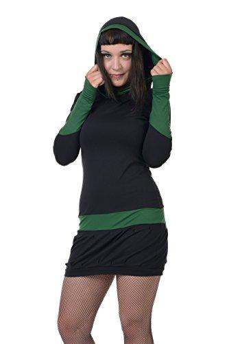 zauberhaftes langarm Kapuzenkleid mit Ballonrock und farblich abgesetzten Details der Marke 3Elfen fair produziert schwarz tannen grün