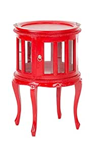 Teetisch cP327, table d'appoint, table acajou/rouge