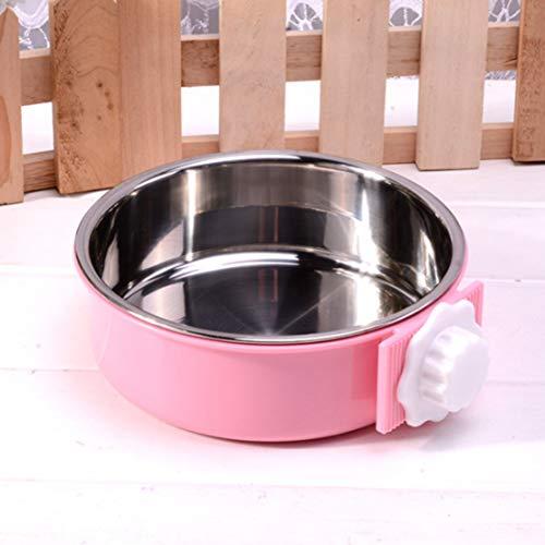 Edelstahl Pet Bowl Cage Hundenapf mit Riegelhalter Hängendes Wasser Futterautomat Coop Cup für Cat Puppy Bird PetsPinkL