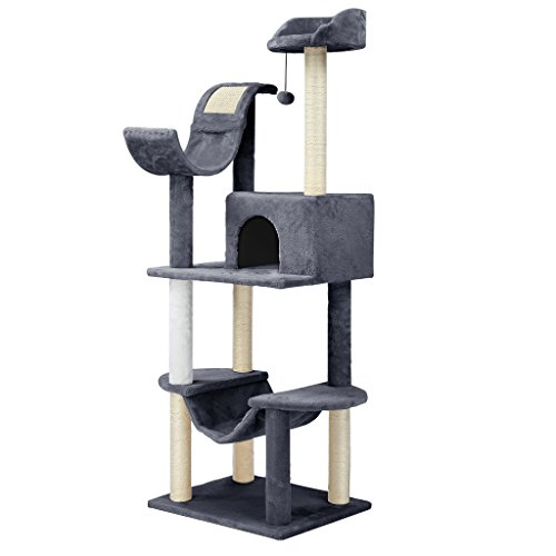 Finether Cat Tree Cat Tower Cat Tree Tower Cat Tree Grey Furniture Cat Scratcher Cat Tree Activity Centre Cat Play Tower Sisal Covered Scratching Posts Hammock Perches Platform and Dangling Ball 60.5'' High 55 W x 45 D x 154 Hcm Grey/White