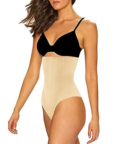 FLORATA Damen Butt Lifter Shapewear Hohe Taille Bauchkontrolle schlanker Tanga nahtlos Body Shaper Shorts - beige - 4X-Groß (High-waisted Shaper Panty)