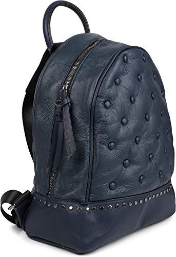 styleBREAKER Damen Rucksack Handtasche mit Nieten im Chesterfield-Stil, Reißverschluss, Tasche 02012266, Farbe:Dunkelblau