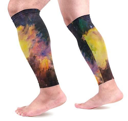 Nebula Galaxy Space Kompressions-Ärmel für Schienbeinschiene und Beine, mit Sternen-Wadenmotiv (Beanie Mit Pom Galaxy)