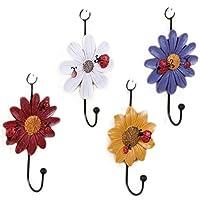 Da.Wa 1Pcs Flower Style Wooden Hooks Coat Hat Clothes Hooks Rack Wood Hook Wall Door Hook Hanger for Bathroom Bedroom Kitchen Random Color