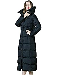 Queenshiny thick Long Women's Down Coat hooded Goose down filling winter uk size from 8--16 long to ankle 120cm long
