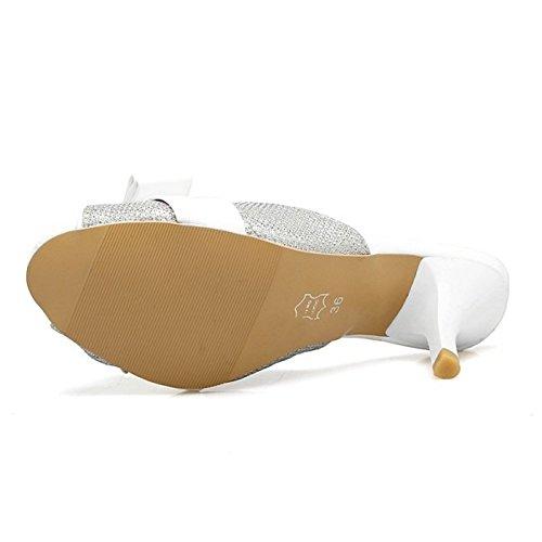 TAOFFEN Femmes Mode Peep Toe Sandales Aiguille Talons Hauts A Enfiler Chaussures De Bowknot Argent