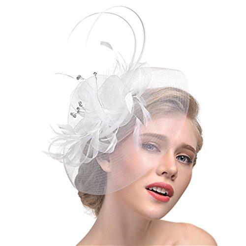 Hüte mit Feder Blumen Haar Clip Haarreif Haar Accessoire Netz-Mütze Schleier Tea Party Hochzeit Kirche Haarschmuck Kopfschmuck Kopfbedeckung für Frauen,weiß ()