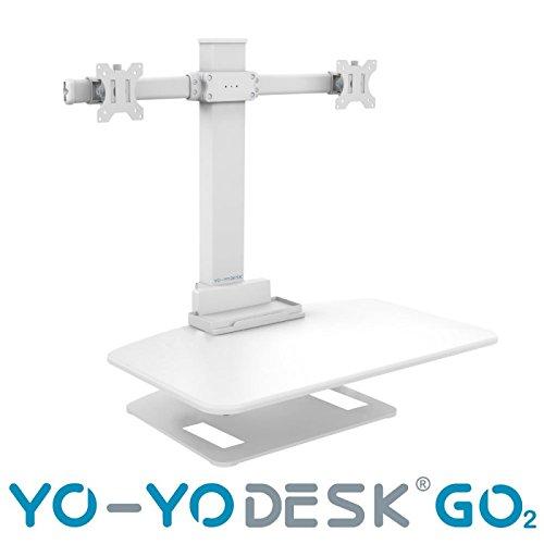 Yo-Yo Schreibtisch Go 2 height verstellbar stehend Schreibtisch mit Dual Arm Monitor   Superior Ergonomische Steh-Sitz-Lösung   Bestseller Stehpult Lösung für größere Benutzer   Exzellentes Kabel Management. weiß