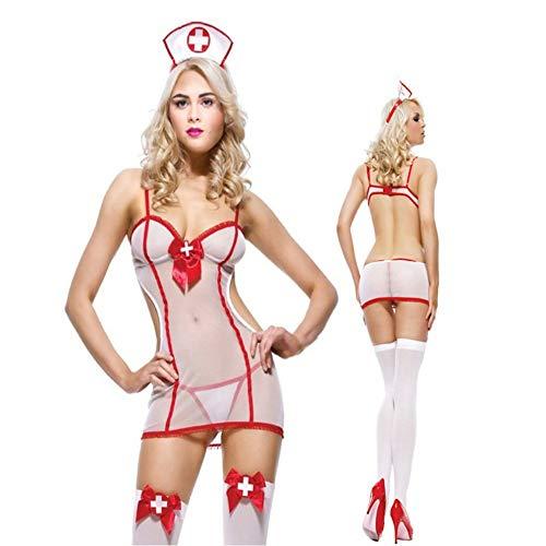 (Porno Sexy Dessous Krankenschwester Uniform Cosplay Kostüm Set Sheer Mesh Fancy Dress)