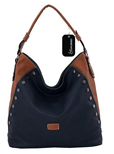 Kukubird Vada blocco colore Tote Bag borsa Casual tutti i giorni Blue