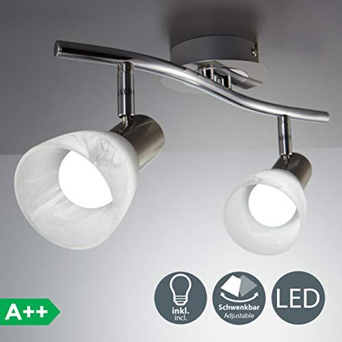 LED Decken-Strahler I 2-flammig I drehbar I schwenkbar I inkl. 2x 5 W LED Leuchtmittel l Decken-Lampe I E14 I IP20 - Eine Leuchte Decken-strahler