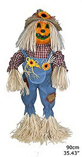 ween Dekoration, Deko lachende Kürbis Vogelscheuche mit Licht Funktion, 90cm, Scarecrow Pumpkin with Light, ideal für Jede Halloween Party / Feier, Blau ()