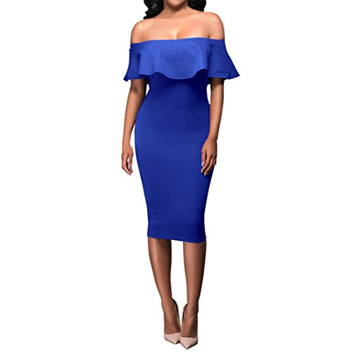 Damen Kleid,FRIENDGG,Damen Kleider Elegant Kurz,Aus der Schulter Abendkleid Clubkleidung für Frauen...