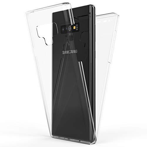 NALIA 360 Grad Handyhülle kompatibel mit Samsung Galaxy Note 9, Full-Cover Silikon Bumper Bildschirmschutz vorne Hardcase hinten, Hülle Doppel-Schutz Ganzkörper Case Handy-Tasche, Farbe:Transparent