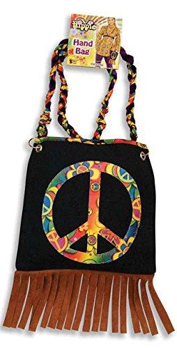70s Hippy Hippie Boho Frieden Zeichen Kein Krieg Troddel mit Quasten Fransen Handtasche Kostüm Kleid Outfit Zubehör Handtasche (1970 Kostüme)