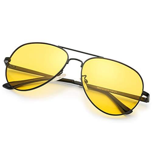 Sodqw occhiali antiriflesso polarizzati visione notturni guida, protettivi uv400 con occhiali giallo lenti per donna e uomo (cornice nera lente gialla)