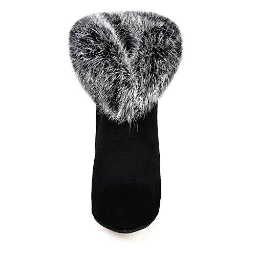 TAOFFEN Damen Mode-Event Wildleder Stiletto Spitze Toe Reißverschluss Knöchelriemchen Mit Wolle Schwarz