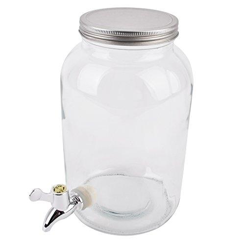 Dispensador de bebidas con grifo, cristal transparente, 35x 20x 20cm, dispensador de agua y zumo, vidrio, claro, 26x16x16cm