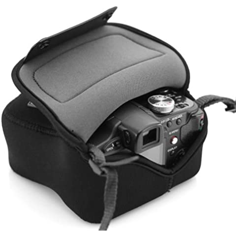 USA GEAR Funda Cámara Reflex Ligera Protectora y parcialmente impermeable de Neopreno– Compatible con Canon EOS 400D / Sony SX510 HS / Nikon Coolpix S6800 y mucho más – por USA
