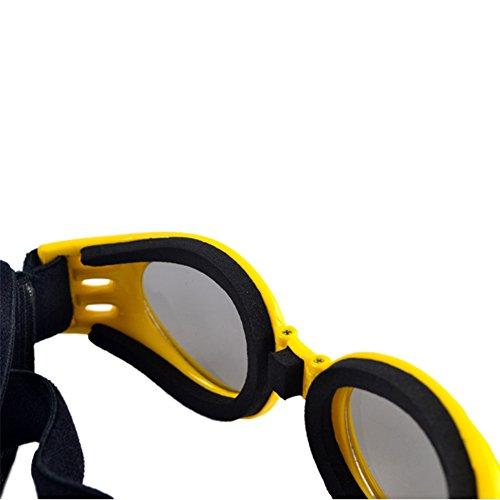 Baorio Pets Brille Runde Brille Polarisierte Sonnenbrille Übergroße und ultraleichte Brille mit Nasenpolster 100% UV404-Schutz Die beste Ausrüstung für Hunde Katzen Gelb Mittel