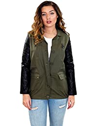 New Ladies Womens Army Style Lined Commando Jacket Top Faux Leather Long Sleeves