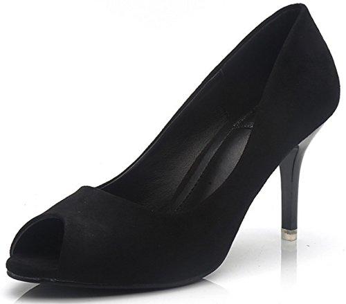 DADAWEN Femmes Chaussures Plateforme Sandales Talon Haut Escarpins Peep Toes sexy Noir