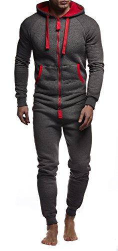 LEIF NELSON Herren Overall Jumpsuit Onesie Trainingsanzug Jogginghose Trainings T-Shirt Fitness Stringer Bekleidung LN8154; Größe XL; Anthrazit-Rot (Onesies Hose)