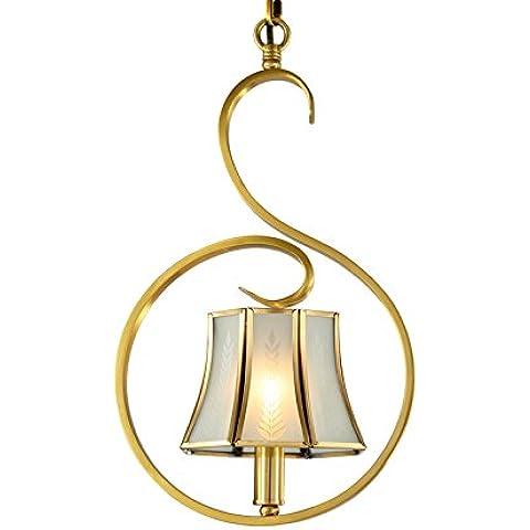 YUENLONG Continental Cu tutti i piccoli lampadari e personalità creativa del corridoio di transito spie (Ottone Ovale Porta)