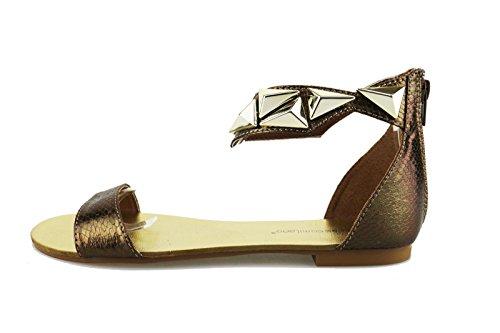 FRANCESCO MILANO Sandales Femme Bronze Noir Cuir (38 EU, Bronze)