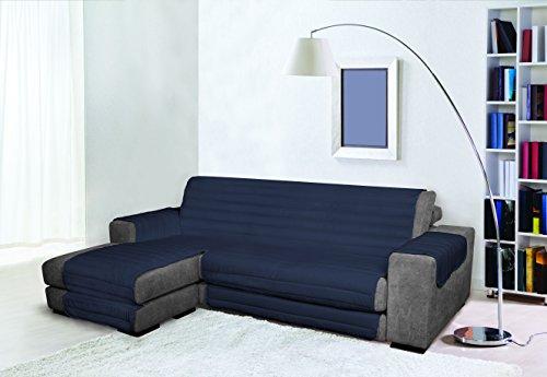 Trendy Copridivano con Penisola, Blu Scuro, 190 cm