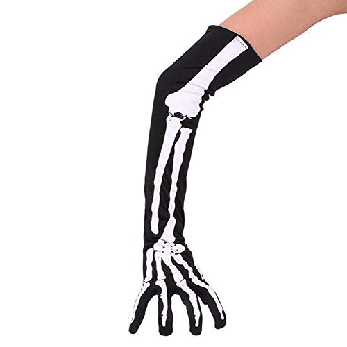 Hibasing Halloween Masquerade Herren Frauen Skelett Handschuhe Hohe Elastizität Lange Arm skelett Requisiten Handschuhe Kurze (Masquerade Handschuhe)