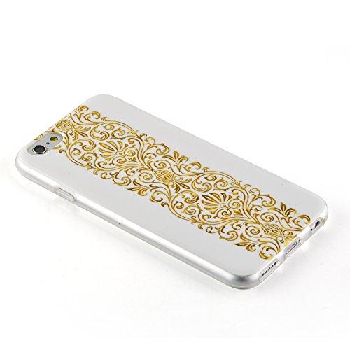 JAMMYLIZARD   Ultra Slim Silikonhülle für [ iPhone 6 & 6s 4.7 Zoll ] mit Tarnmuster, ROT / PINK / GRAU 3D Glam - goldenes BAROCKMUSTER auf WEIß