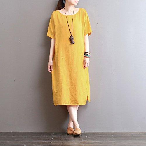 in der langen abschnitt des reinen retro - kleid, das kleid aufschlitzen Gelb