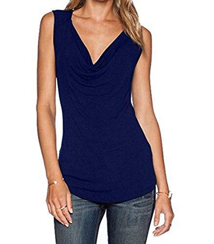 Damen Ärmelloses Shirt ZJCTUO V-Ausschnitt Ärmellos Wickelshirt Asymmetrisch Stretch Basic Shirt Tunika Obertail (EU 42/XL, Purpurblau)
