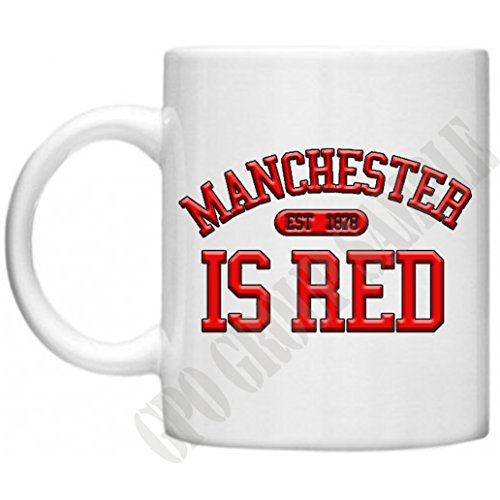 Manchester Is Red, United, GPO Group Exclsuive Design, Football Mug, Quirky Mug, Microwave Dishwasher Safe 11oz Mug Cup