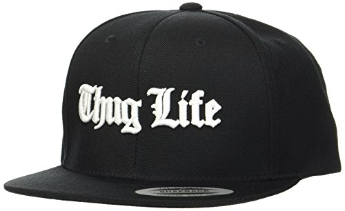 THUG LIFE Hombre Old English Snapback Tapa, Black, One Size