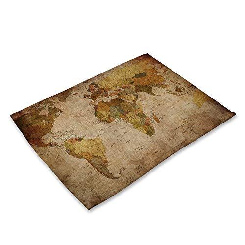 NoblePlacemat Estilo Simple Mantel Individual,Mapamundi impresión Mundo Serie algodón y Lino Mantel...