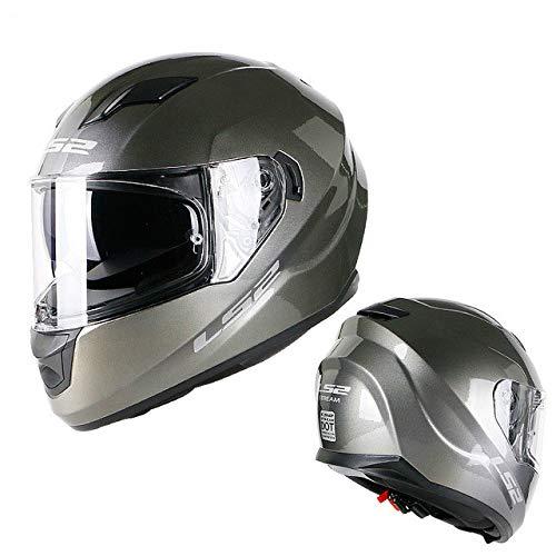 Casco moto Integrato Visiera parasole Doppia lente Casco integrale Senza airbag Casco moto Dot Certificazione grigio L