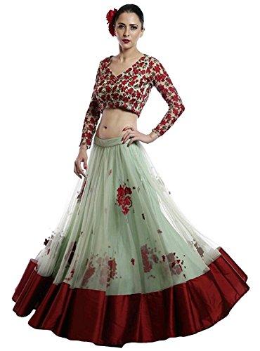Clickedia Womens Heavy Digital Printed Soft Net & Banglory Silk Semi-stitched Green & Red Lehenga Choli