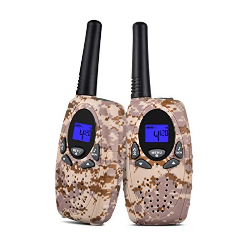Upgrow 2X Walkie Talkies Kinder Funkgeräte Set 8 Kanäle 2-Wege Radio Walki Talki Funkhandy Interphone mit LCD Display, Kinder Speilzeug und Geschenk (Grau) Lcd-marine 2-wege-radio