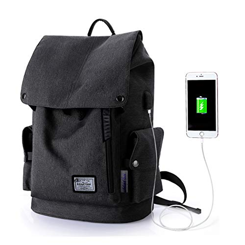Wind Took zaino portatile impermeabile 15.6 pollice zaino laptop zaino unisex zaino con usb multiuso backpack laptop per università lavoro viaggio NERO