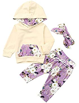 Beikoard Baby Langarm Blumendruck-Pullover-Set Neugeborenes Baby Mädchen Kleidung Mantel Floral Hosen Leggings...