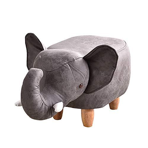 YIKUI Sofá Lounge Silla de Madera sólida Elefante de la Historieta de la tapicería de Cuero del Asiento Almacenamiento de Las heces