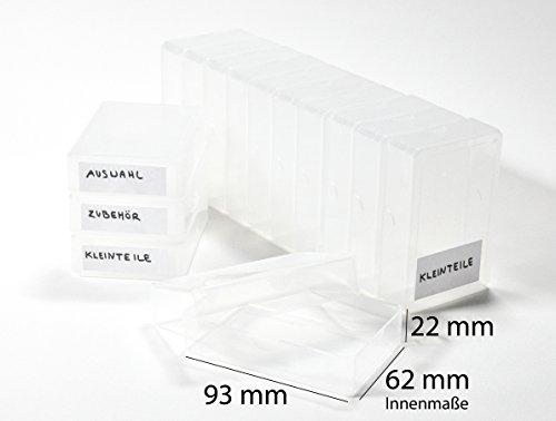 Kartenspielerbox 15 x Kunststoffboxen Ordnungshilfen groß (Größe 9,6 x 6,5 x 2,5 cm) + 44 selbstklebende Etiketten - Grundschule plus