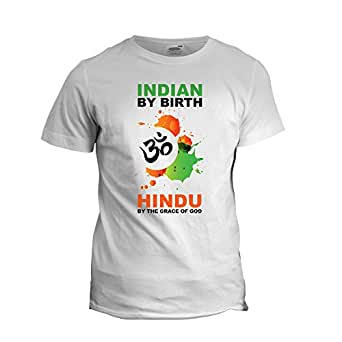 "Indian by Birth Hindu Patriotic T-Shirt-M (Size 40"")"