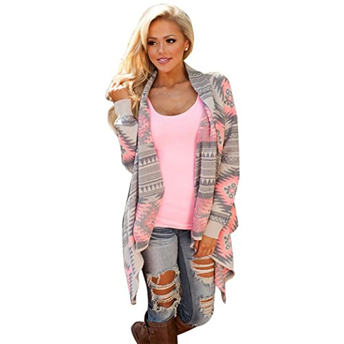Boyasing Frauen Geometrische Gedruckt Lange Ärmel Baumwolle Kimono Strickjacke Mantel Vertuschen Tops (XL) (Tunika Ärmel Top Kimono)