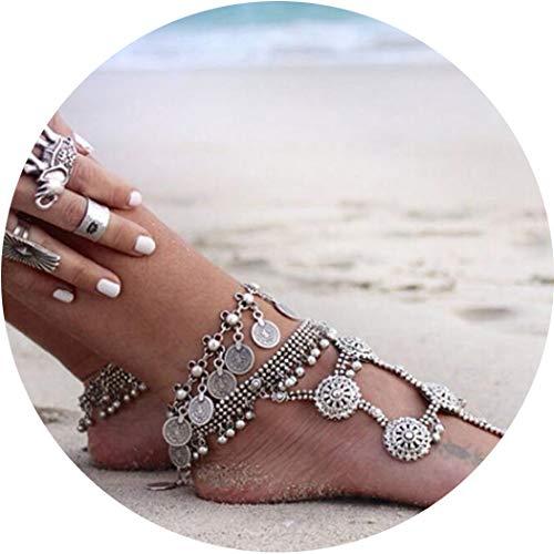 Chicer Boho Vintage Armband Fußkette Fußschmuck Panzerkette Zubehör Strand Barfuß Sandale Verstellbar für Frauen und Mädchen (Silber/1)