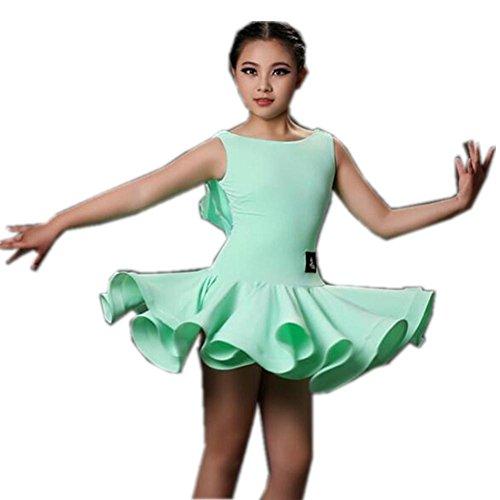 Byjia Ärmellose Kinder Kostüm Latin Dance Kleid . Green . S