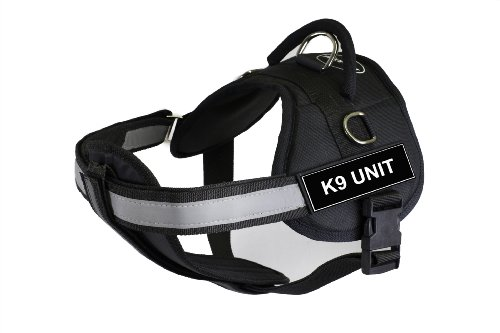 DT Works Harness with Padded Reflective Chest Straps, K9 Unit, Black, Large - Fits Girth Size: 86cm to 119cm
